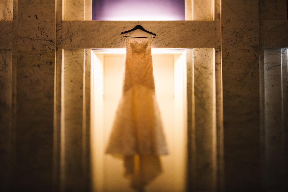 mount vernon ballroom wedding dress hanging