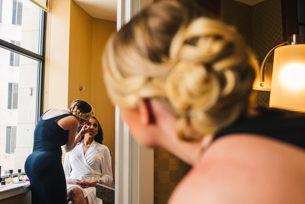 mount vernon ballroom wedding bride getting makeup done