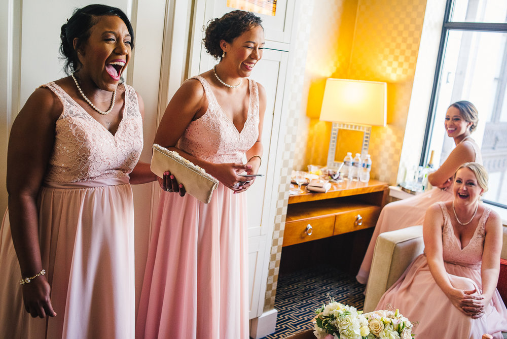 mount vernon ballroom wedding bridesmaids laughing