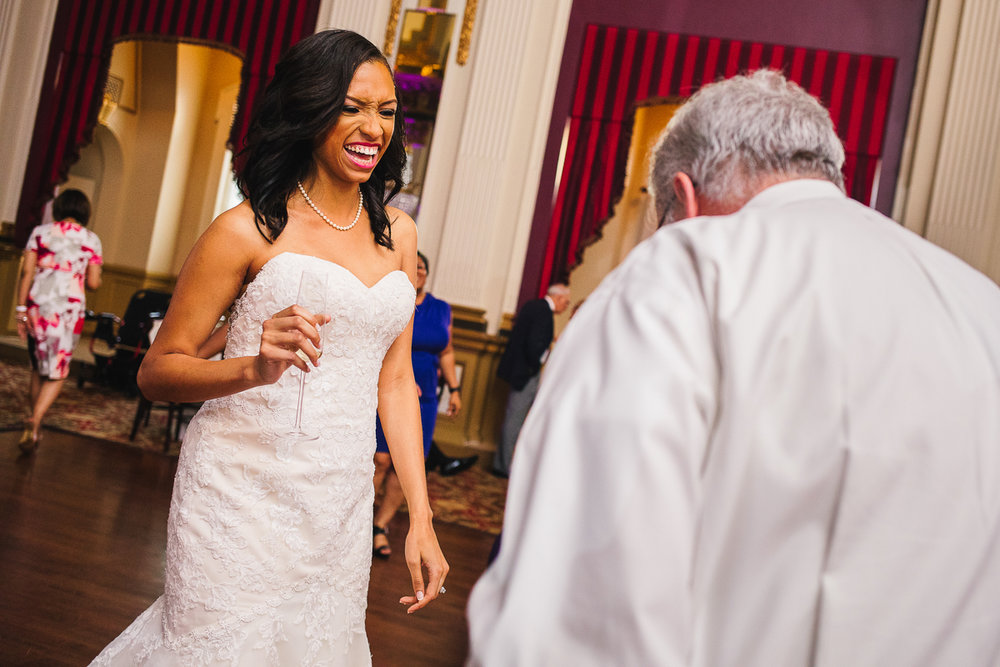 mount vernon ballroom wedding bride laughing with guest