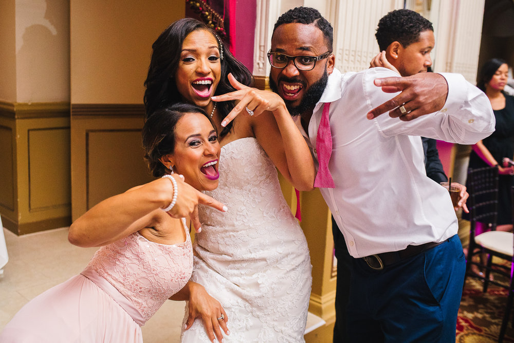mount vernon ballroom wedding bride, bridesmaid, and groomsman fun pose