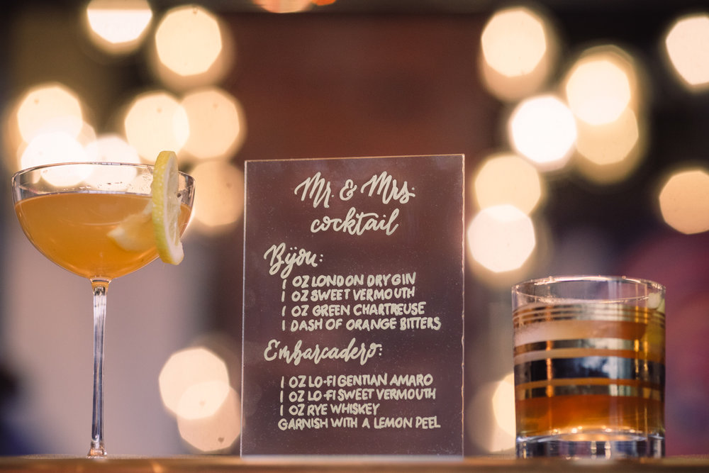 williamsburg hotel wedding shoot cocktails with sign