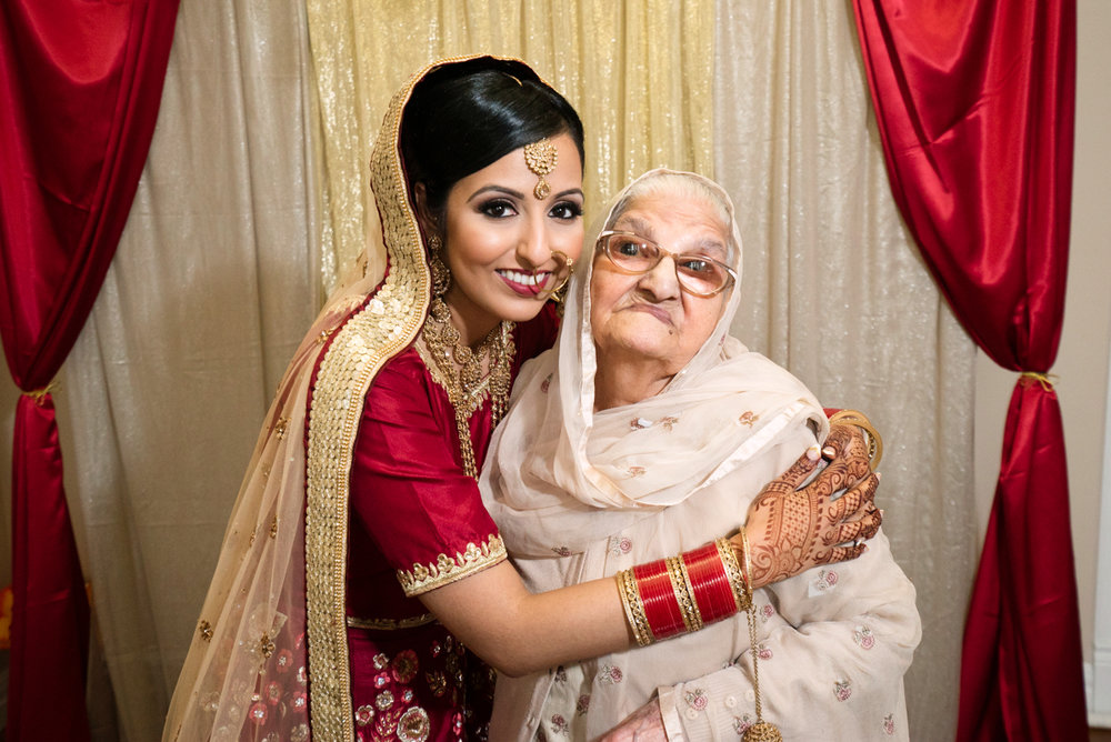 edmonton Indian and filipino wedding bride and grandmother