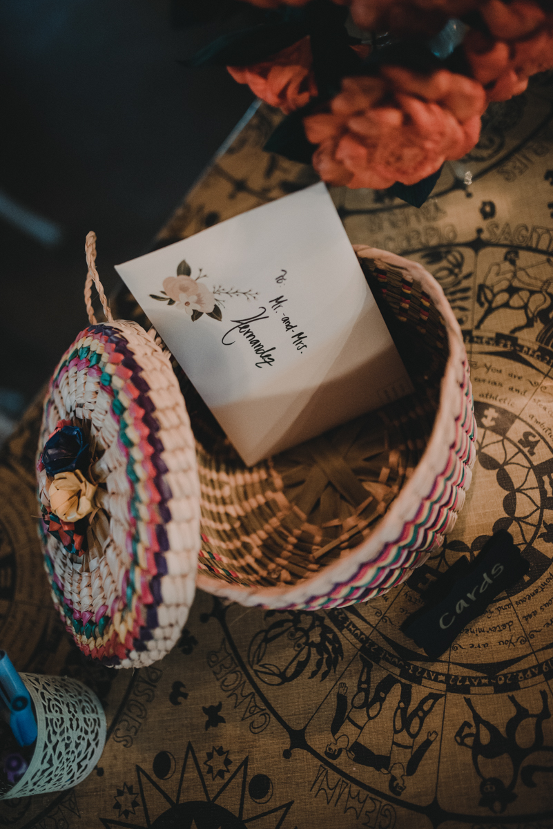 intimate, eclectic austin wedding basket for cards