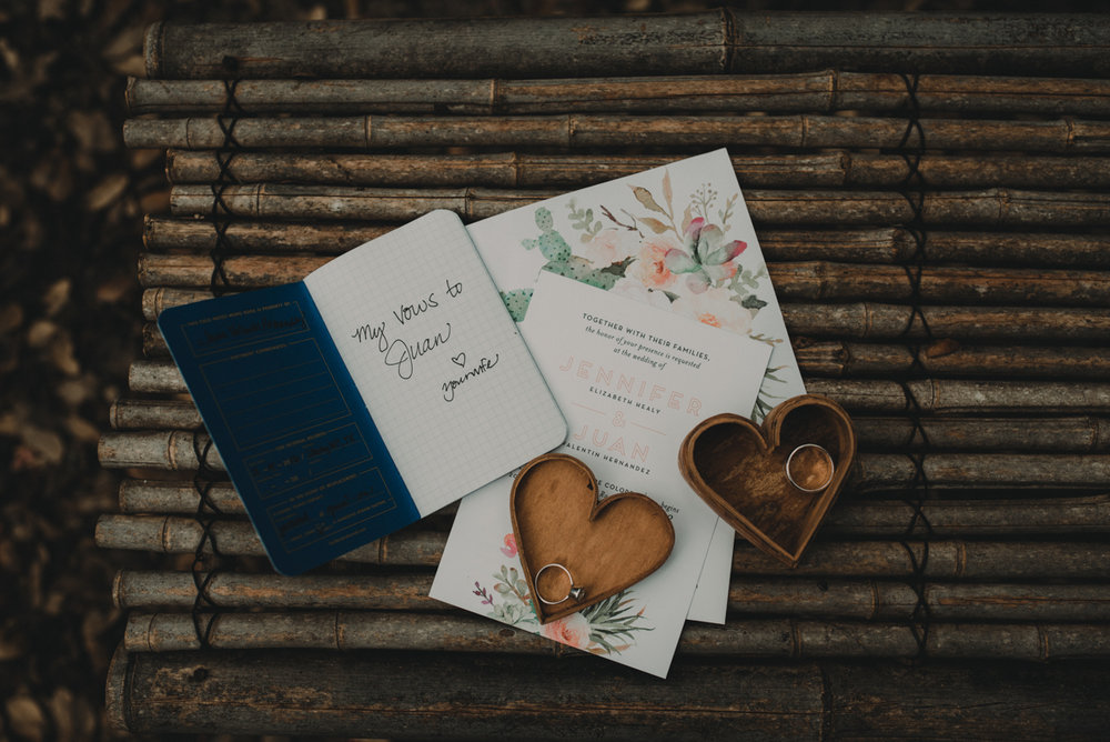 intimate, eclectic austin wedding ring box, invitation, and jennifer's vows