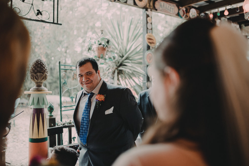 intimate, eclectic austin wedding juan seeing jennifer approach altar
