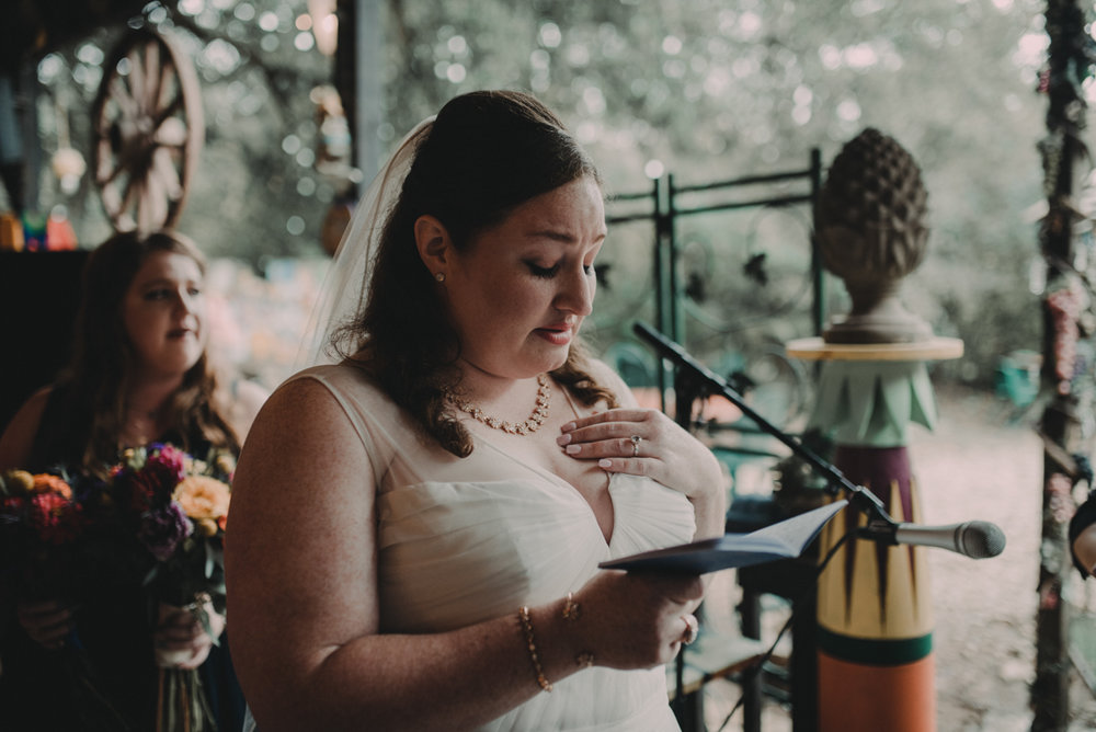 intimate, eclectic austin wedding jennifer reading vows