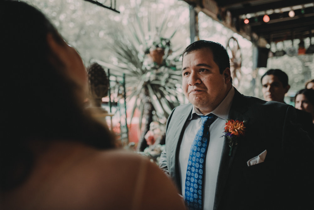 intimate, eclectic austin wedding juan during ceremony