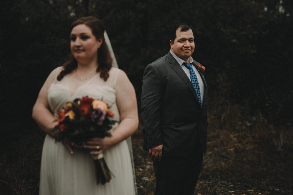 intimate, eclectic austin wedding jennifer and juan pose