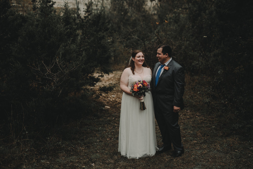 intimate, eclectic austin wedding candid in trees