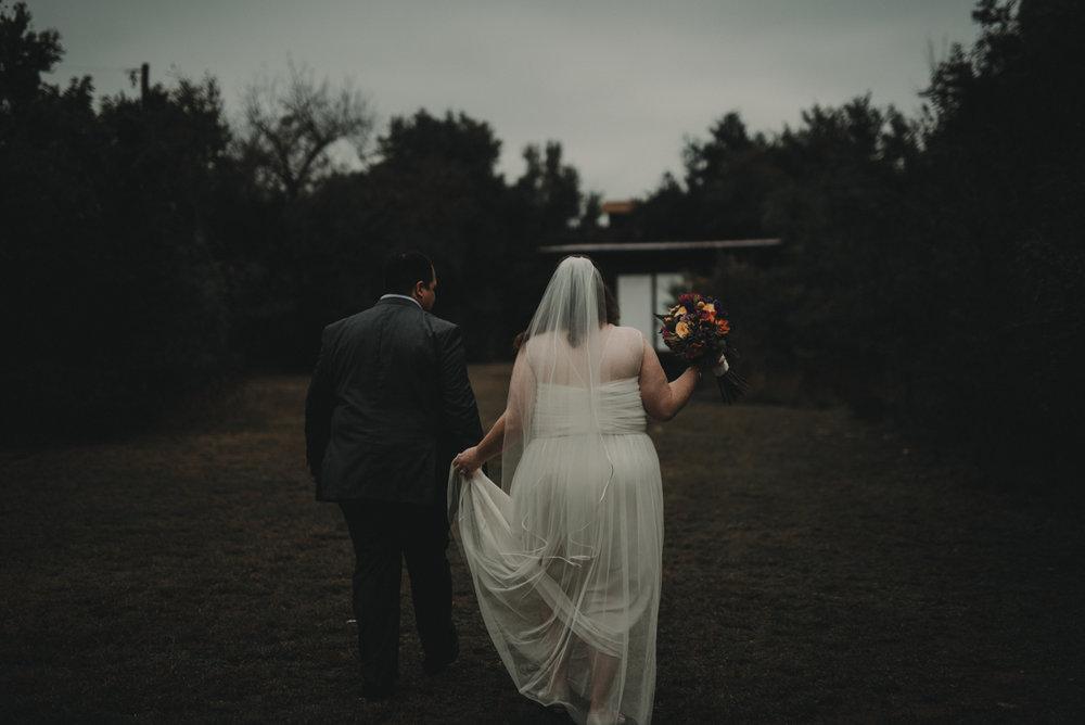 intimate, eclectic austin wedding couple walking
