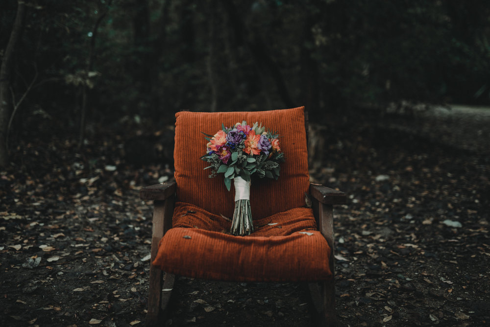 intimate, eclectic austin wedding bouquet on chair