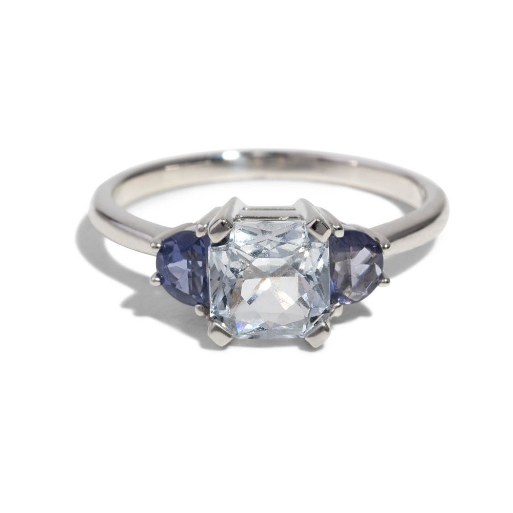 Bario Neal Custom Rose-Cut Diamond and Sapphire Cluster Ring