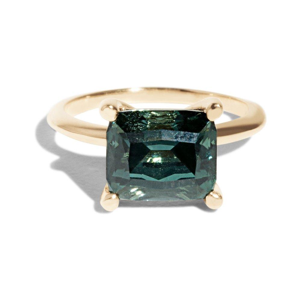 Bario Neal Custom Horizontally Set Tourmaline Solitaire Ring