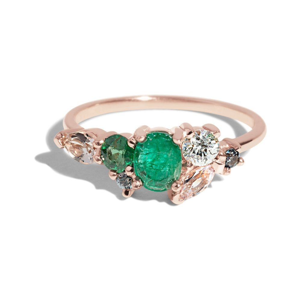 Bario Neal Custom Heirloom Emerald and Morganite Cluster Ring