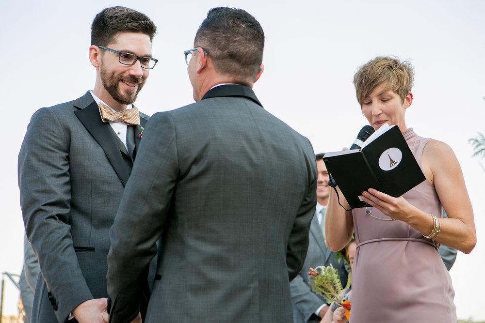 colorado castle wedding couple at altar