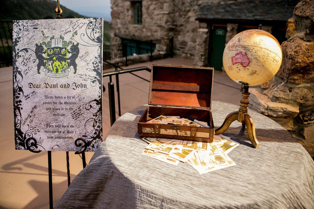 colorado castle wedding card box on table with globe