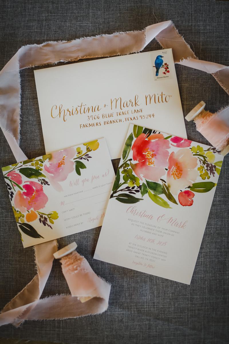Dreamy pastels dallas texas invitations with ribbon spool