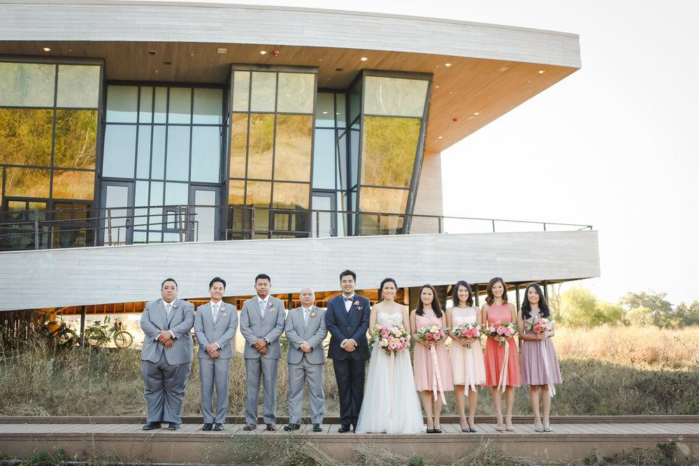 Dreamy pastels dallas texas wedding party outside venue