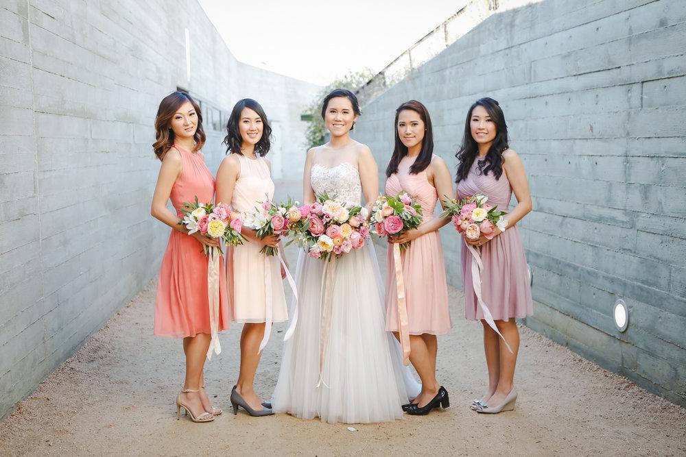 Dreamy pastels dallas texas bride with bridesmaids