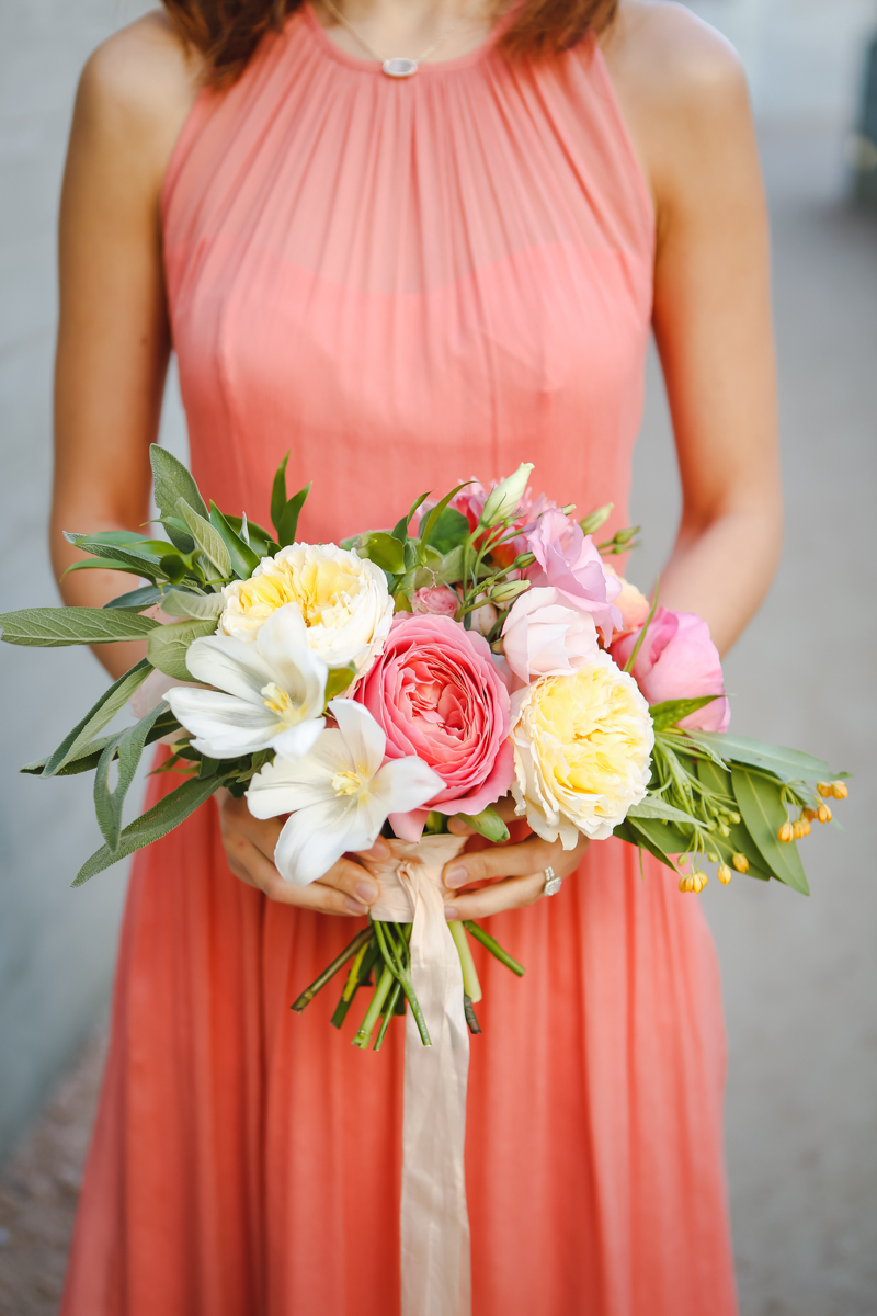 Dreamy pastels dallas texas bridesmaid holding bouquet