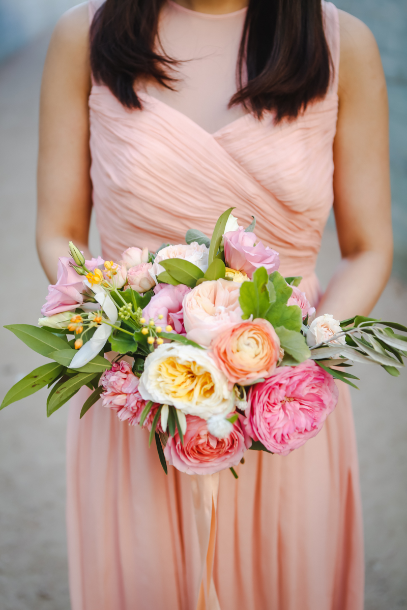 Dreamy pastels dallas texas third bridesmaid with bouquet