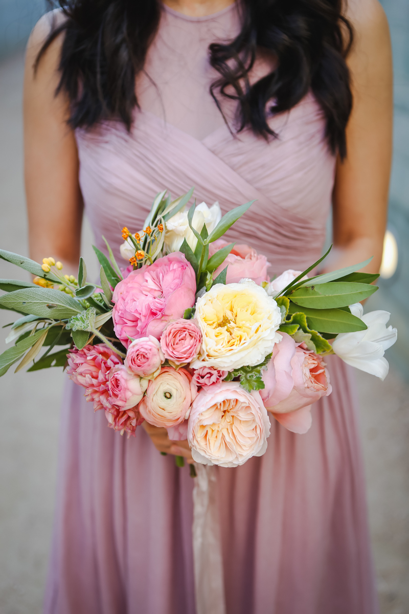 Dreamy pastels dallas texas fourth bridesmaid with bouquet