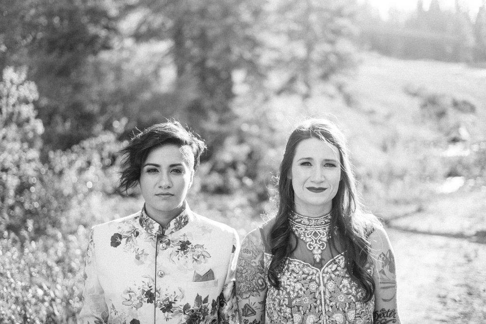 DENVER SAME-SEX INDIAN WEDDING BRIDES OUTSIDE