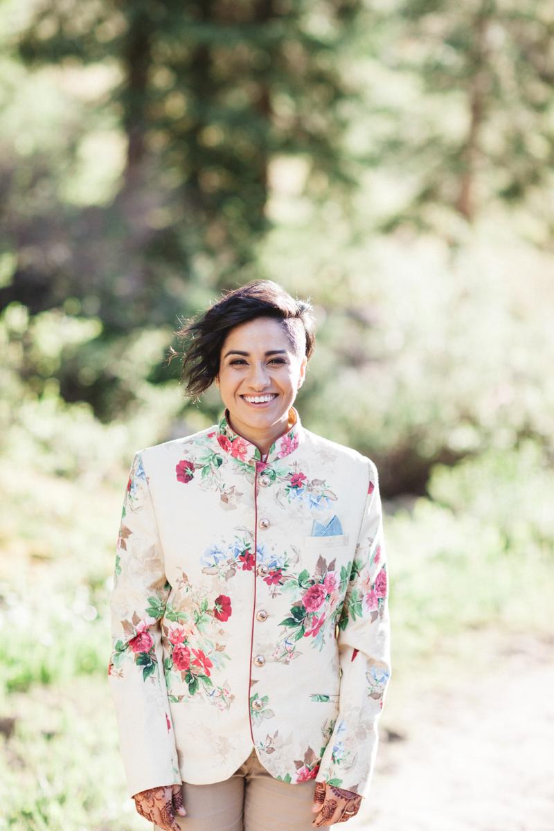 DENVER SAME-SEX INDIAN WEDDING MONICA SMILING FOR CAMERA