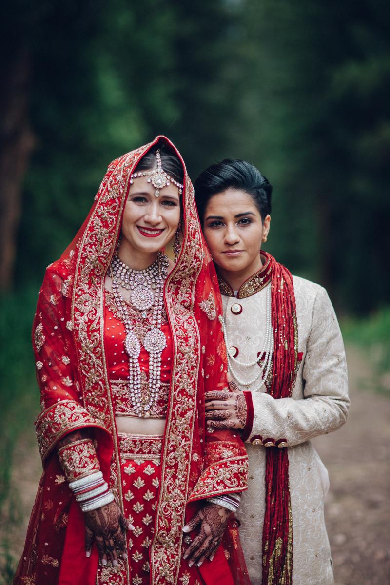 Denver Same-Sex Indian Wedding pose for camera