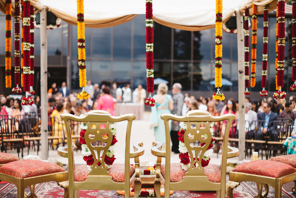 Denver Same-Sex Indian Wedding mandap and seated guests