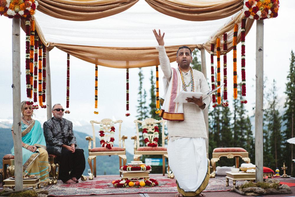 Denver Same-Sex Indian Wedding pundit chetan chavan reading
