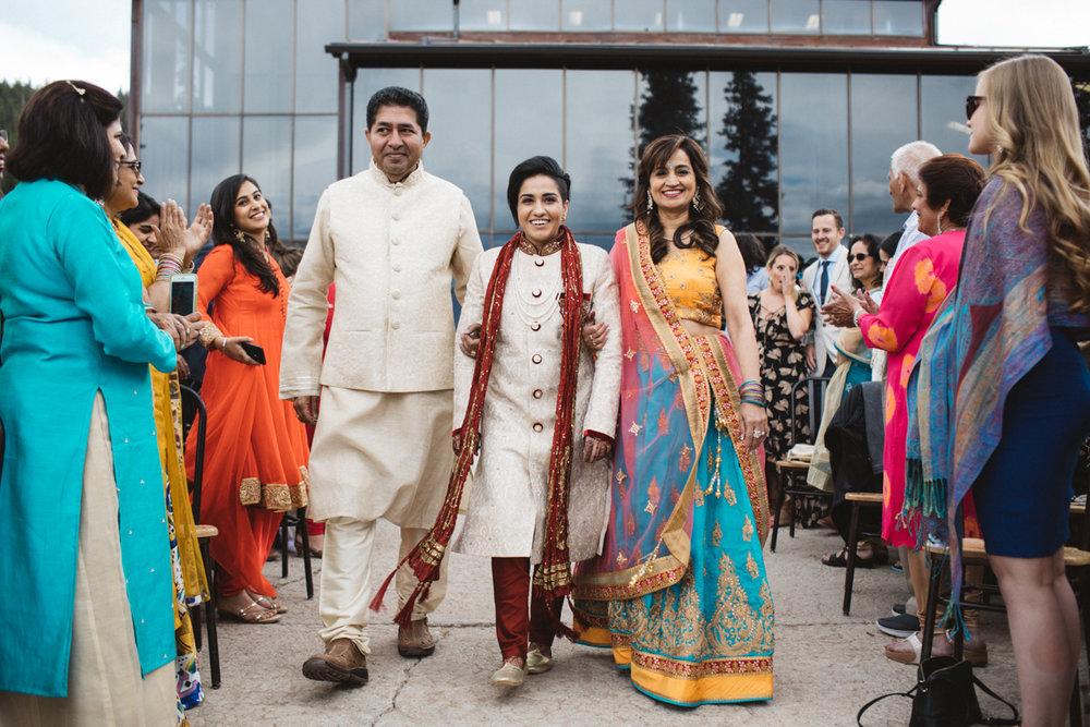 Denver Same-Sex Indian Wedding monica walking down aisle