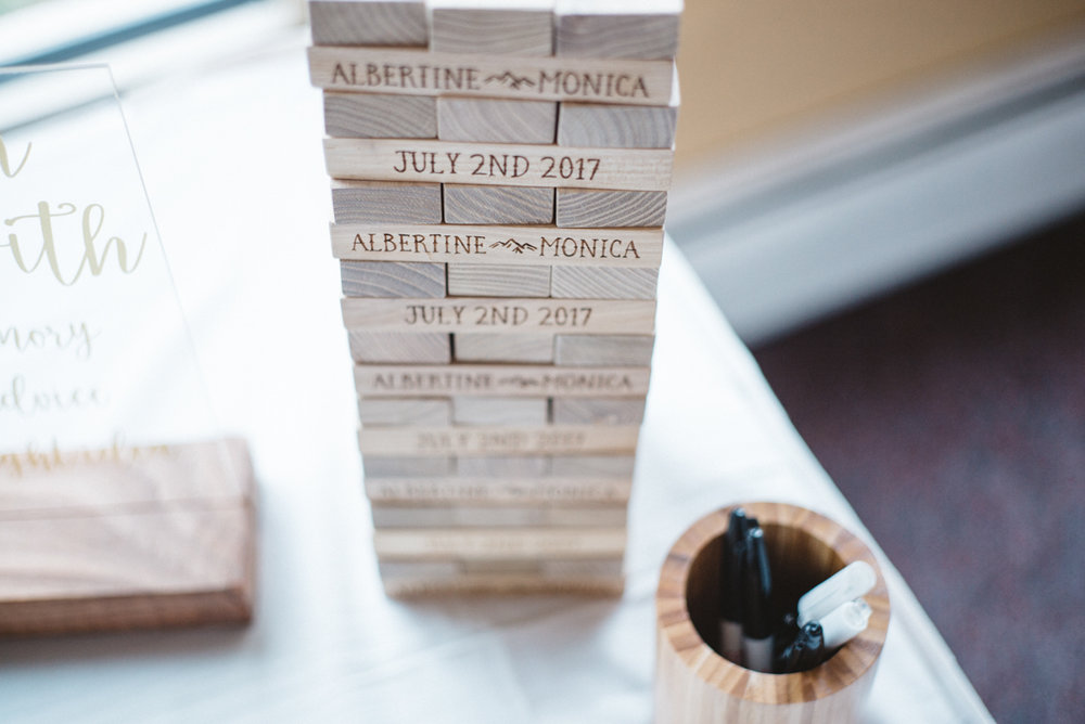 denver same-sex indian wedding custom jenga tower reading couples' names and date