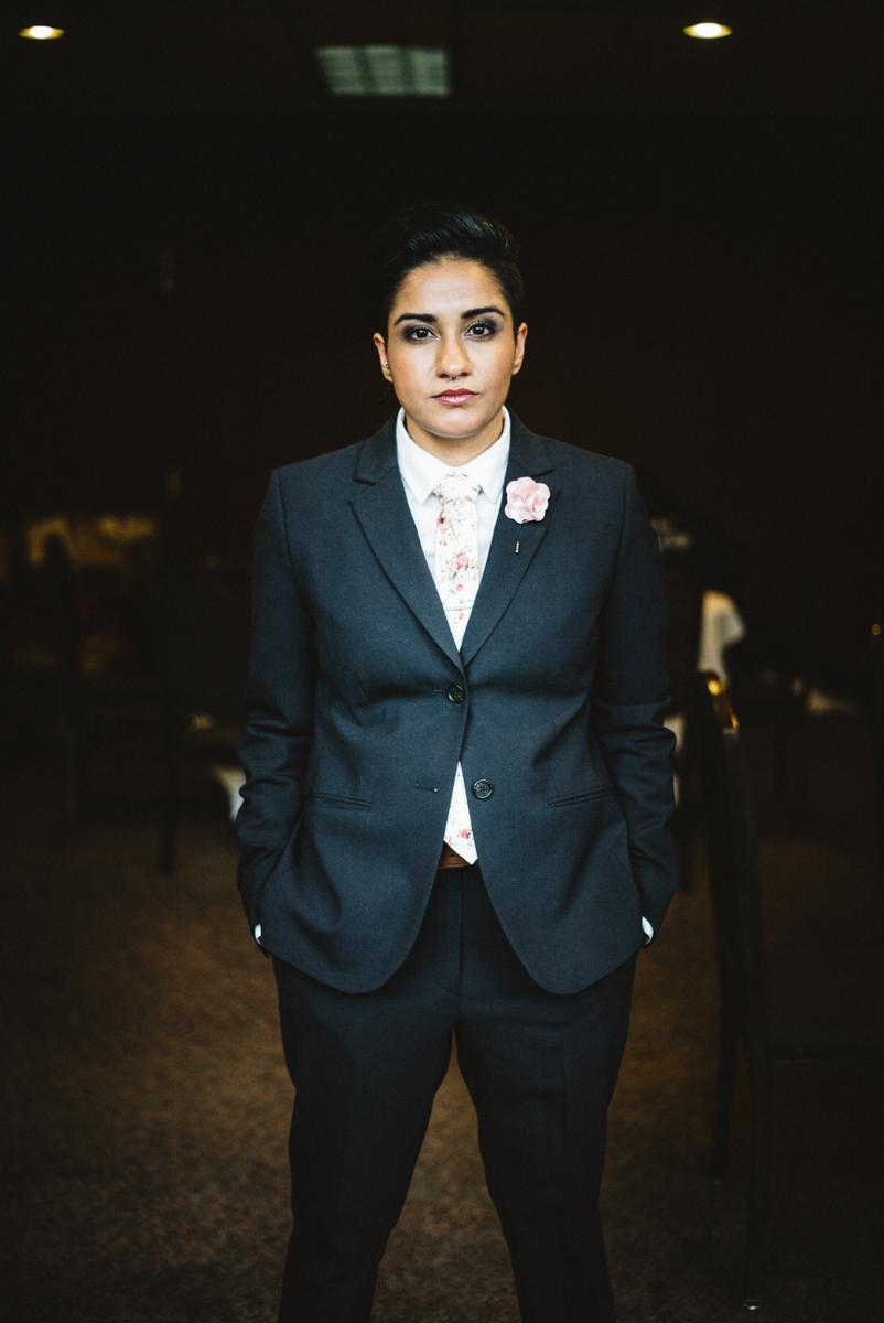 denver same-sex indian wedding monica in tuxedo