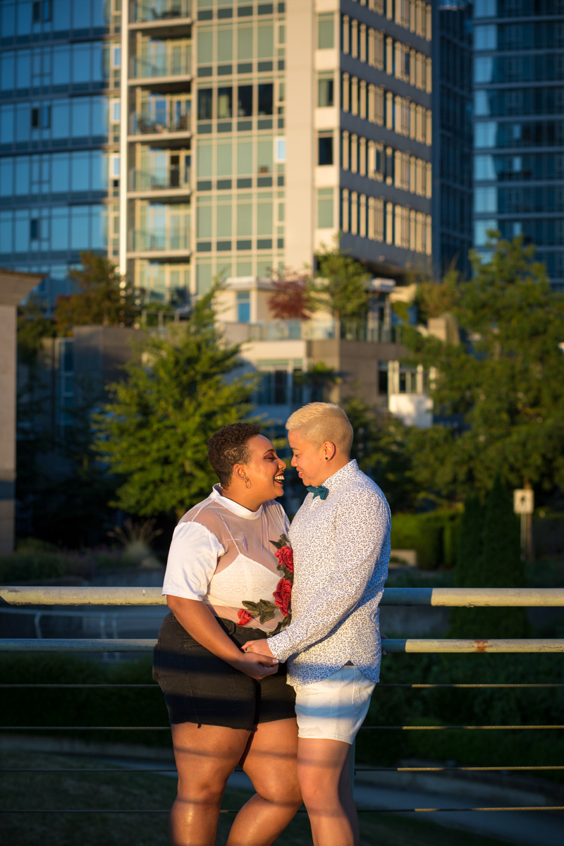 "vancouver ""just because"" photo shoot couple smiling at each other"
