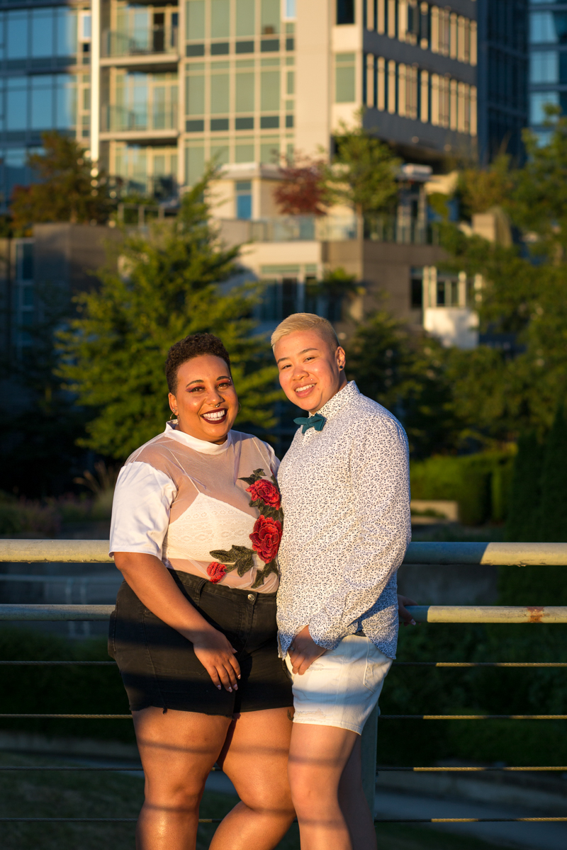 "vancouver ""just because"" photo shoot couple smiling in dusk light"