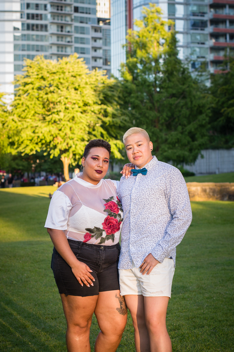 """vancouver """"just because"""" photo shoot pose in park"""