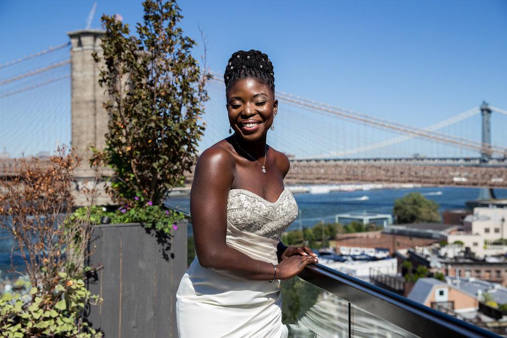 Caribbean NYC wedding sylvia on balcony