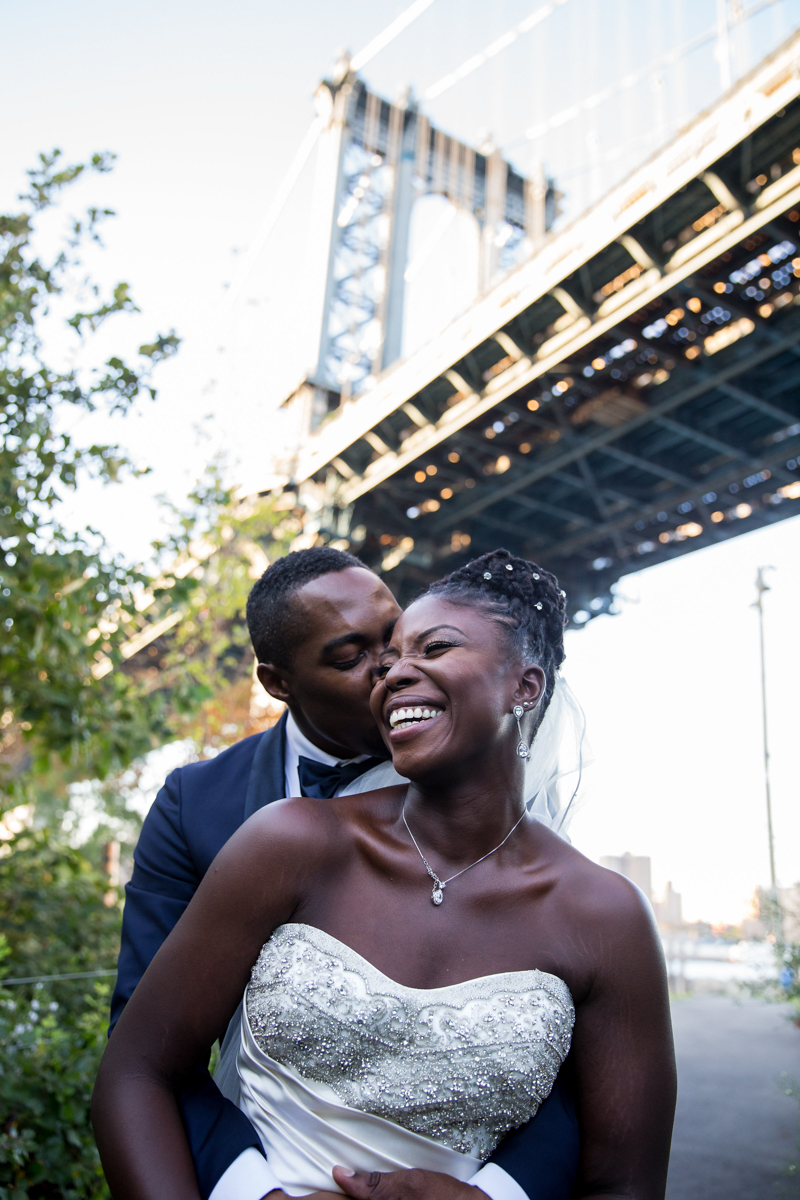 Caribbean NYC wedding jason kissing sylvia's cheek