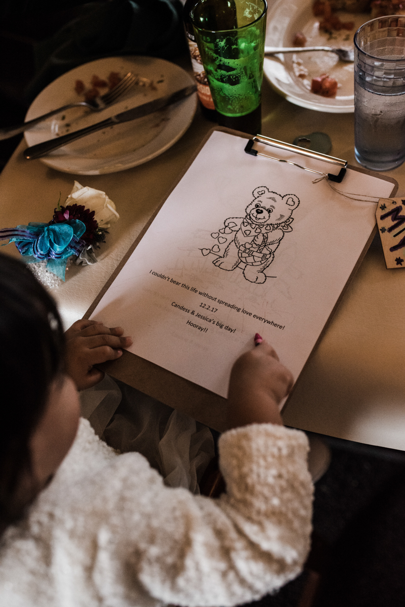 "Rustic italian wedding child coloring on custom coloring page. Page: bear scattering hearts from basket, text reading ""I couldn't bear this life without spreading love everywhere! 12.2.17, candess & jessica's big day! hooray!!"""