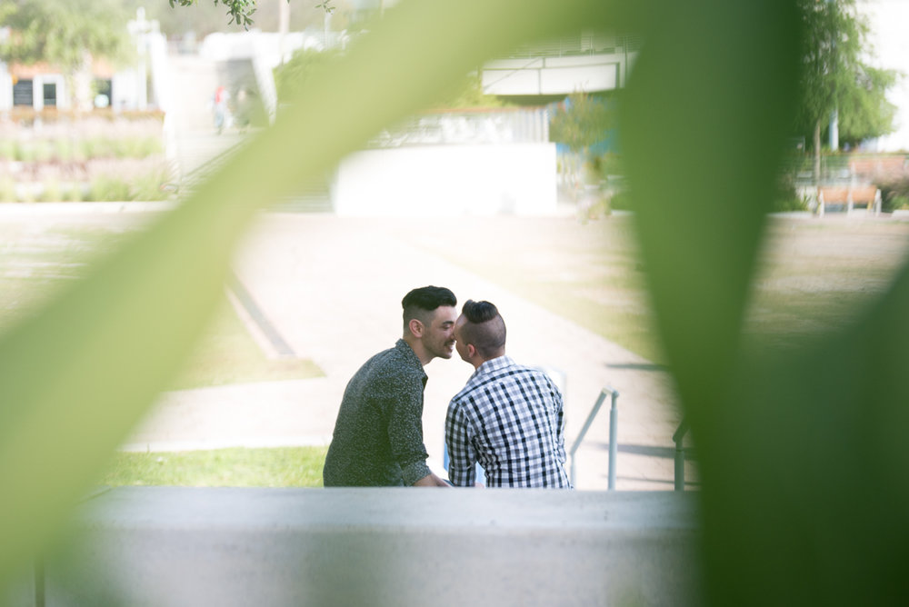 DOWNTOWN TAMPA ENGAGEMENT KISS SHOT THROUGH BUSH LEAVES