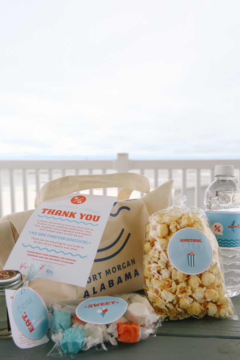 gulf shores destination wedding popcorn and sweets wedding favors