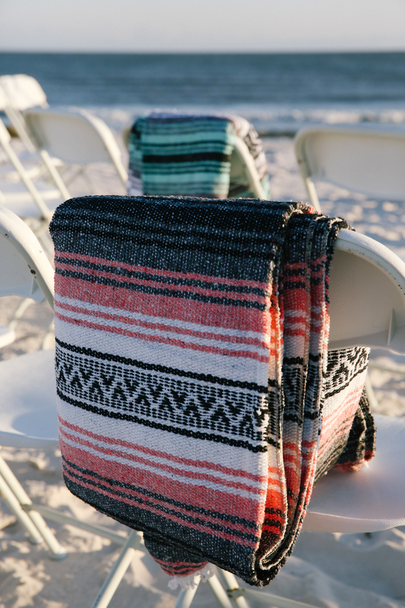 gulf shores destination wedding mexican blanket draped over chair