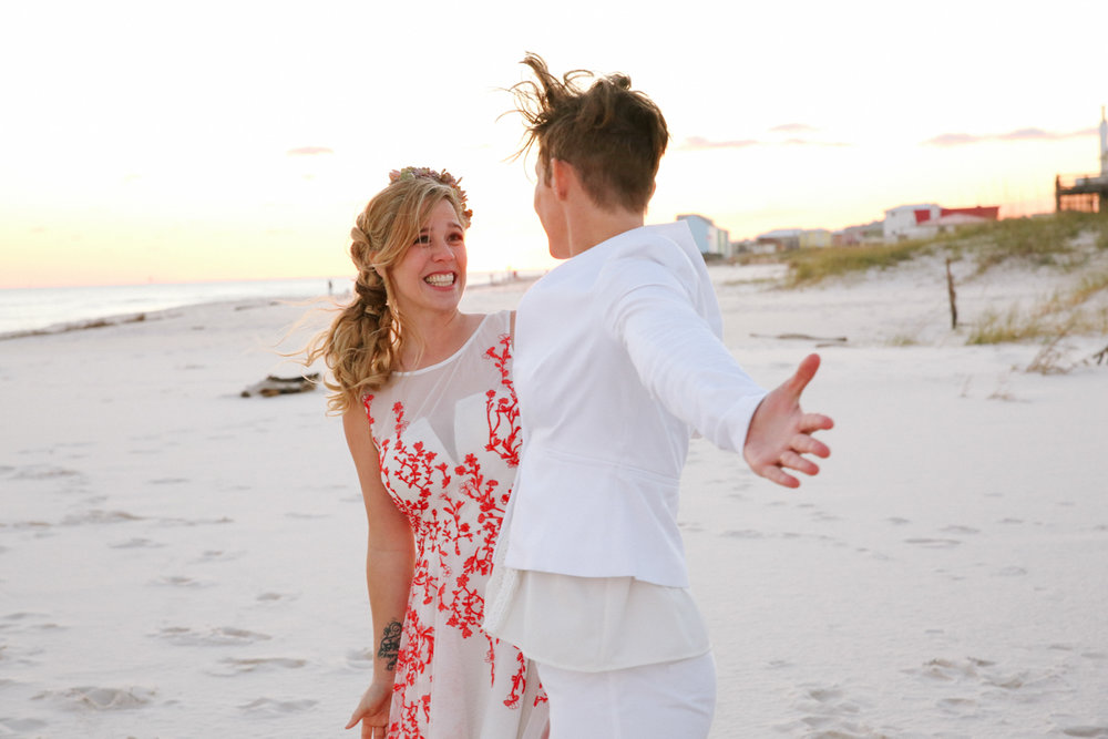 gulf shores destination wedding excited couple