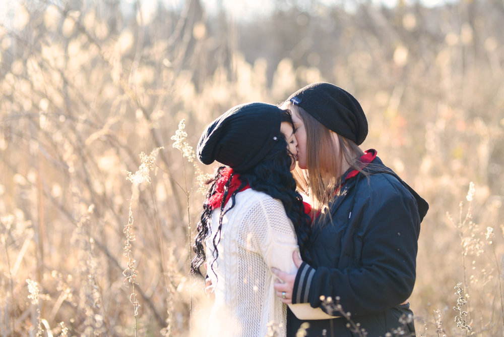 lafayette indiana engagement session kiss in field