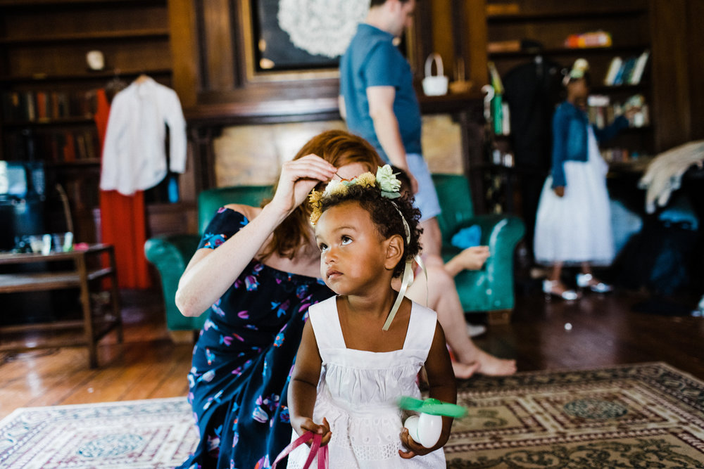 jovial brooklyn ny wedding zora having flower crown put on