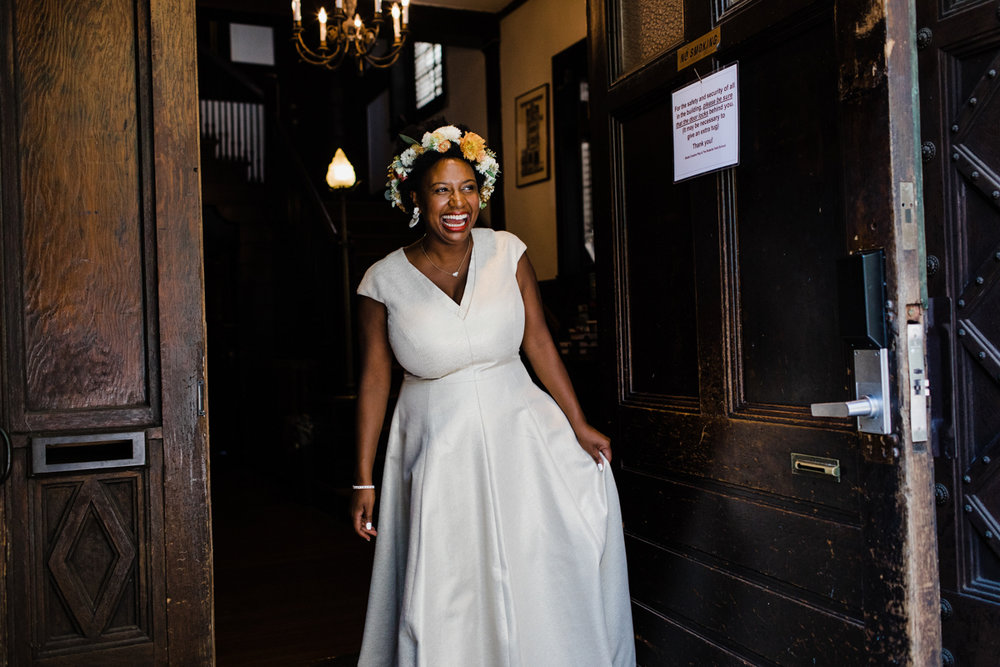 jovial brooklyn ny wedding starsha walking through door