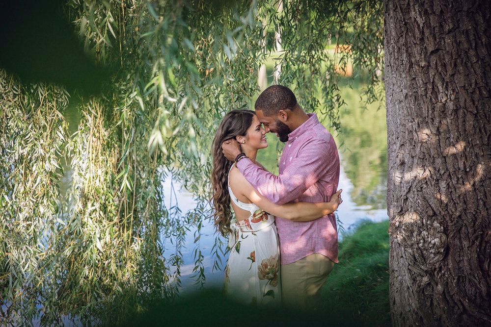 Shelby Township Michigan Garden Engagement embrace shot through willow leaves
