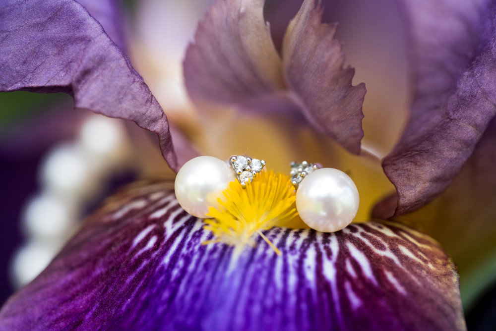 saratoga springs wedding pearl and diamond earrings on blooming flower